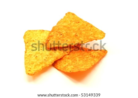 Three spicy cheese tortilla chips