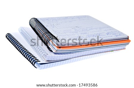 Three spiral notebooks - education concept