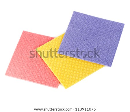 Three sponges isolated - stock photo