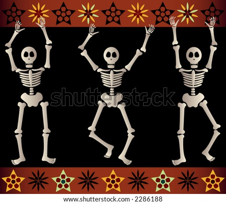 Three spooky skeletons jump and dance around - bordered by black and orange elements - great for Halloween or Dia de los Muertos - stock photo