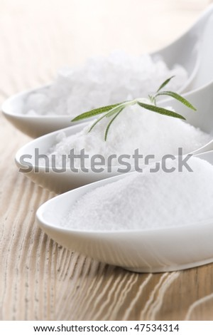 three spoons with difrent salt and rosemary - stock photo