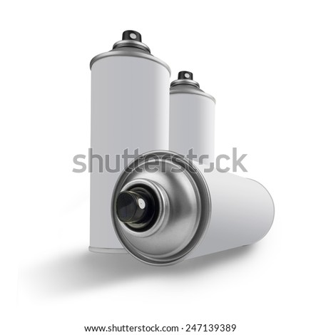 three spray cans isolated on white  - stock photo