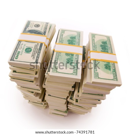 three Stack of Dollar Bills - stock photo