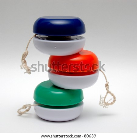 Three Stacked Yo Yo's - stock photo
