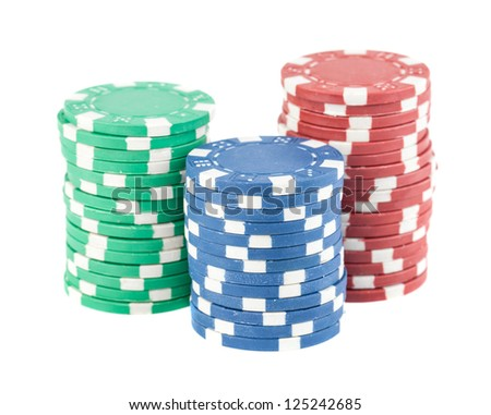 Three stacks of casino chips isolated on the white background