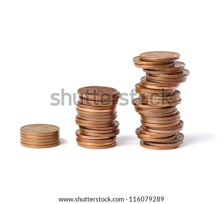 Three stacks of coins 5-cent increase in height and isolated on white background