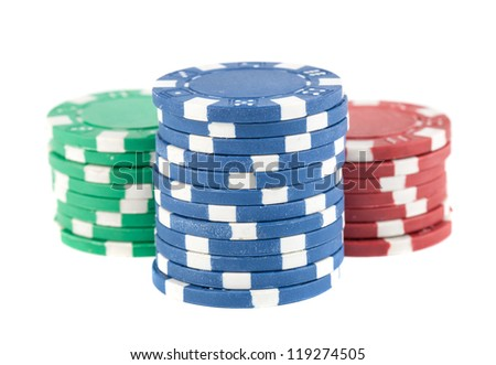 Three stacks of poker chips isolated on white background