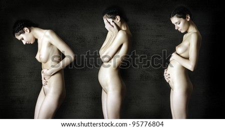 three stages of pregnancy. Portrait of naked pregnant women. - stock photo