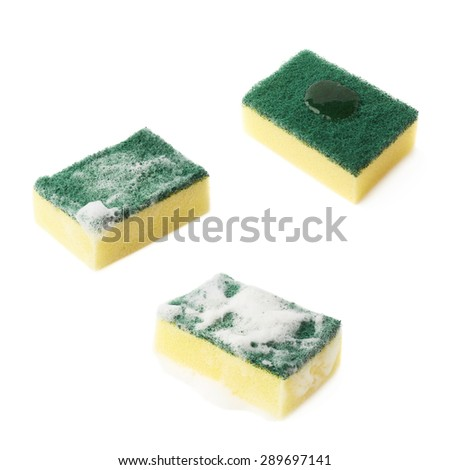 Three stages of the cleaning kitchen dish washing sponge, with the detergent cleanser applied and covered with foam, isolated over the white background, set of three different foreshortenings - stock photo