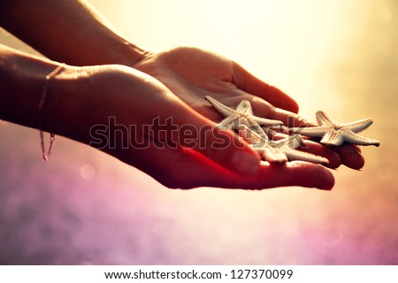 Three starfishes on woman's hands in sunset light. - stock photo