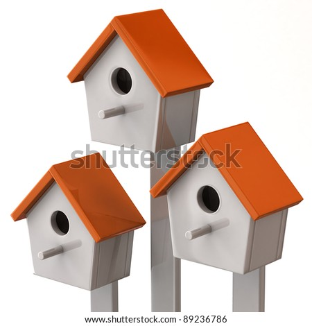 Three starling house isolated on white background - stock photo