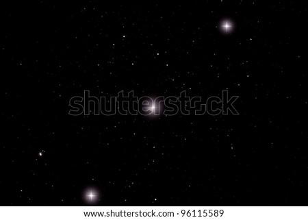 Three stars of Orion's Belt - stock photo