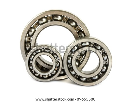 Three steel ball bearings isolated on a white background