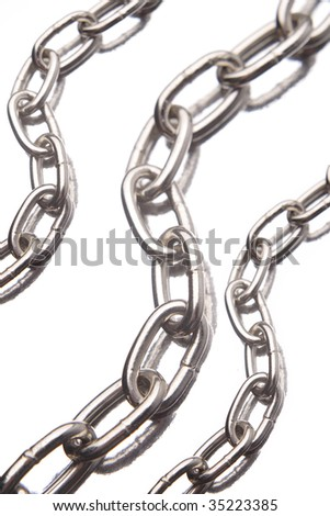 Three steel chains over white background - stock photo