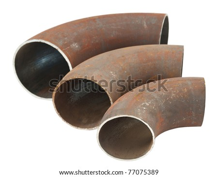 three steel pipe bends - spare parts for pipelines - stock photo