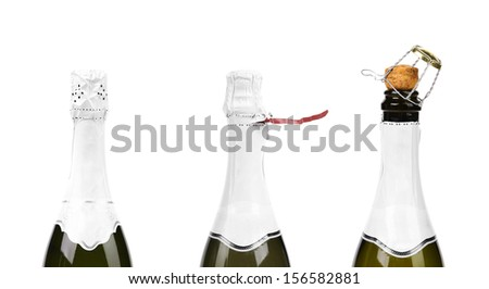 Three steps of opening champagne bottle. Isolated on a white background.
