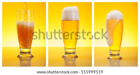 Three steps of pouring beer in glass - stock photo