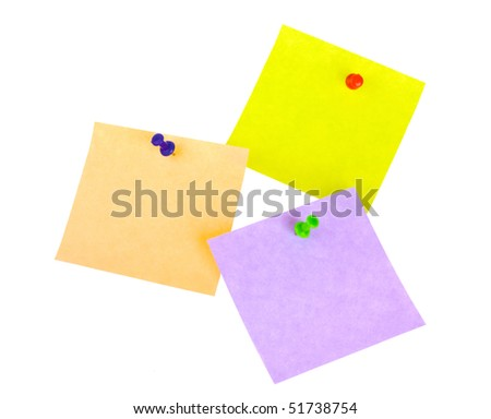 Three sticker notes with pins isolated on white background