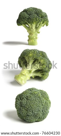 Three Sticks of Broccoli in three different useful poses. Each of the three objects is in focus and so can be used separately as a stand alone images or together in a strip as shown. - stock photo