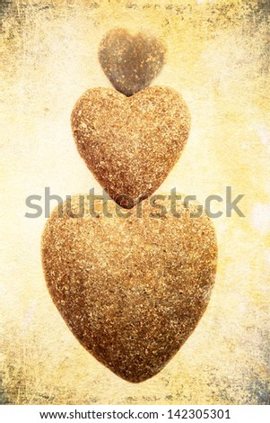 three stone hearts with attractive grunge texture