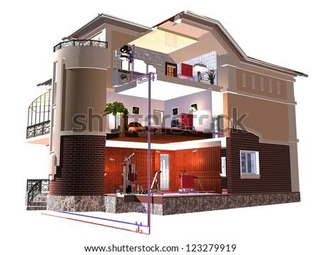 Three storey cottage. 3d rendering - stock photo