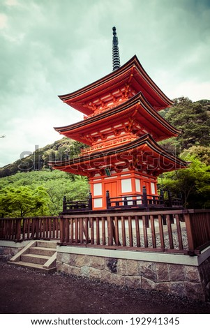 Three-storied pagoda at Taisan-ji Temple nearby Kiyomizu-dera Temple in Kyoto  - stock photo