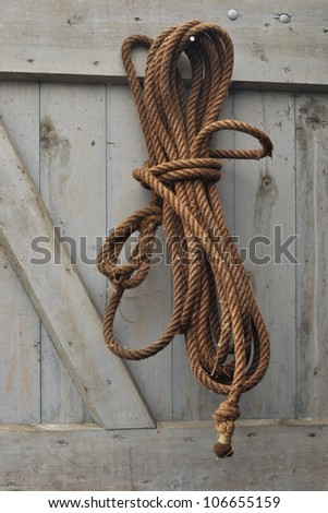 Three-strand twisted natural fibre rope on wooden door - stock photo