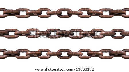 Three strands of rusty chains. Make chain longer by simply cutting and pasting onto new layers and repositioning. - stock photo
