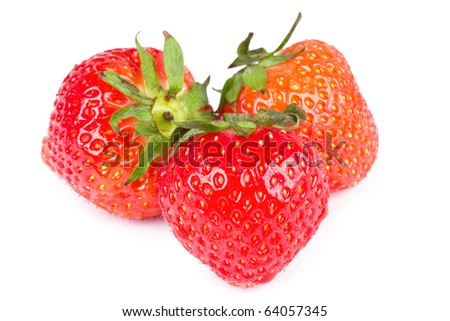 Three strawberries isolated on white, closed-up