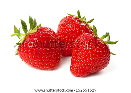 Three strawberry isolated on a white background, macro image - stock photo