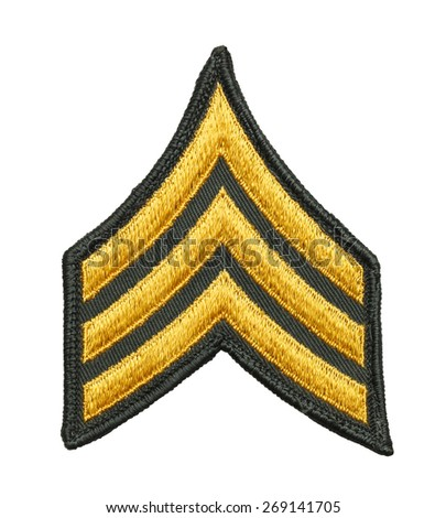Three Striped Army Patch Isolated on White Background. - stock photo