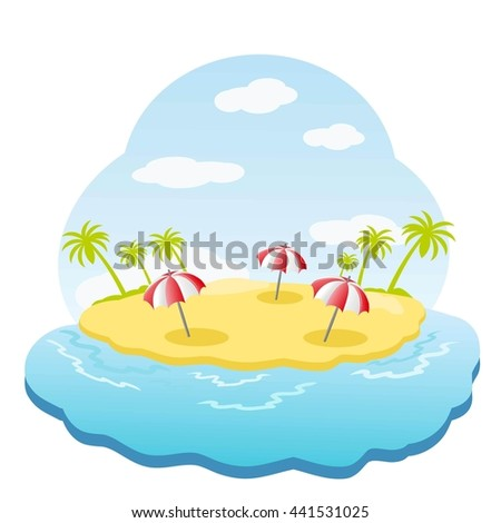 Three striped parasol on sandy island with palm trees in sea. Raster illustration