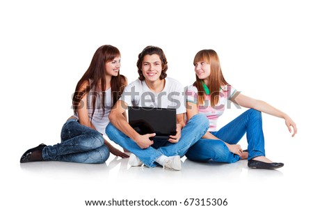 three students are siting at ground, smiling and talking; guy with laptop; on white background