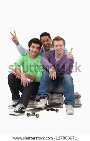 three students posing for a picture - stock photo