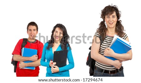 Three students with books and backpacks over a white background. Focus at front - stock photo
