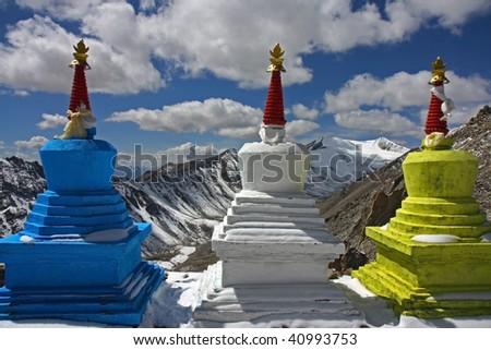 three stupas high in Himalayas - stock photo