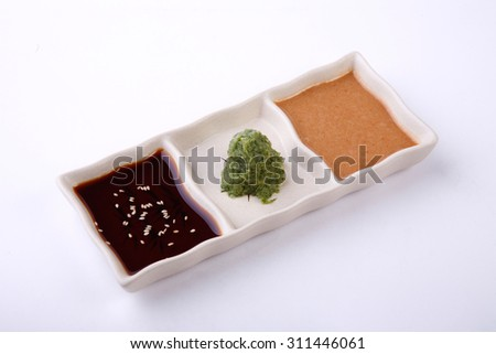 three style of buta sauce in sauce dish isolated on white background. - stock photo