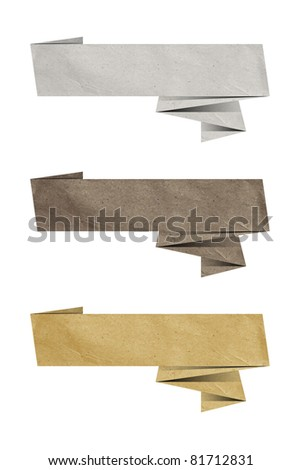 three stylish Origami paper design elements for your content - stock photo