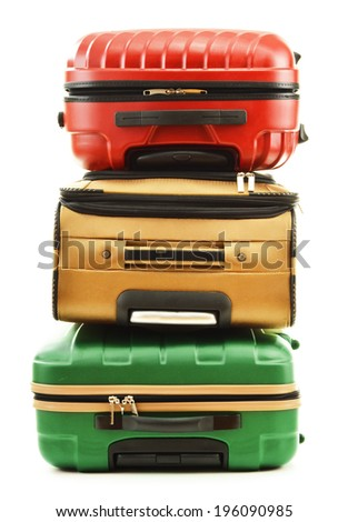 Three suitcases isolated on white background - stock photo