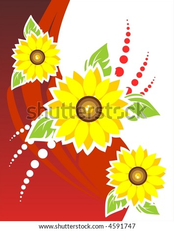 Three sunflowers on a red-white background.