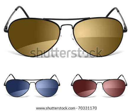 three sunglasses isolated on white - stock photo