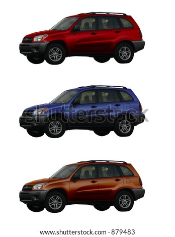 Three suvs in different colors perfect to show off your automotive graphics and signage for businesses - stock photo