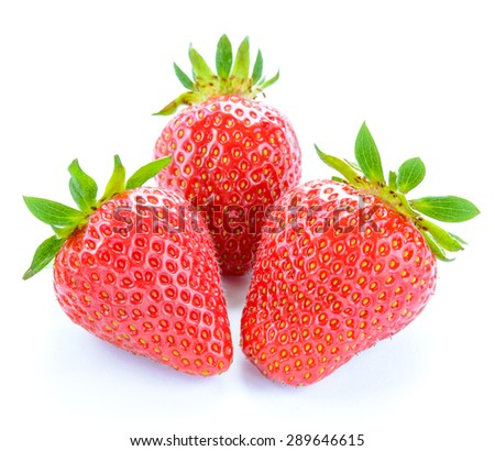 Three Sweet Juicy Strawberries Isolated on the White Background. Summer Healthy Food Concept