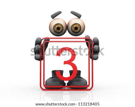 three symbol on a white background - stock photo