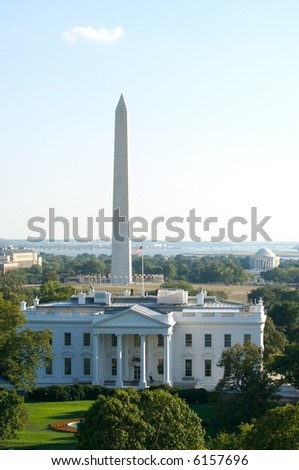 Three symbols of Washington, DC - the White House, the Washington Monument and the Jefferson Memorial in horizontal picture - stock photo