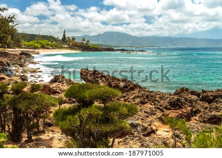 Three Tables Beach is part of Pupukea Beach Park on the North Shore of Oahu, Hawaii - stock photo