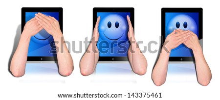 three tablets with woman's hands covering you the mouth, the hearings and the eyes - stock photo
