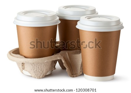 Three take-out coffee. Two cups in holder. Isolated on a white. - stock photo