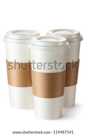 Three take-out coffee with cup holders. Isolated on a white. - stock photo