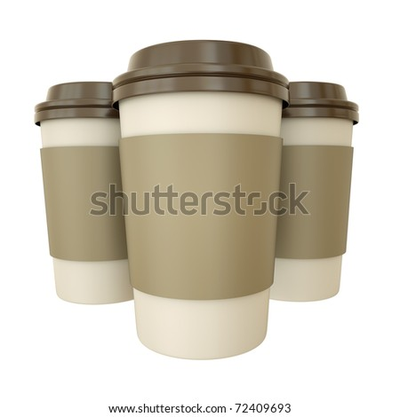 Three takeaway coffee cups. 3D render - stock photo